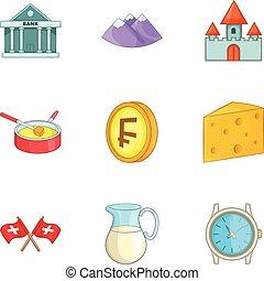 švýcarsko, národnostní, kulturní, symbol, ikona, dát