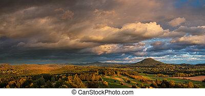 švýcarsko, západ slunce, podzim, ruzovsky, krajina, ...