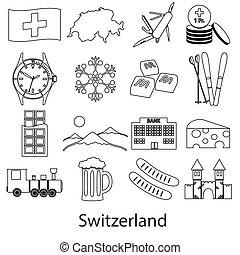 švýcarsko, země, námět, nárys, symbol, ikona, dát, eps10