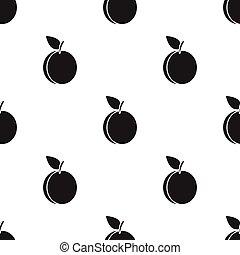 švestka, ikona, black., singe, ovoce, icon.