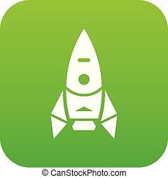 űrhajó, vektor, zöld, rakéta, ikon