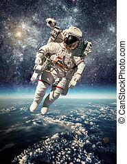 űrhajós, alatt, világűr