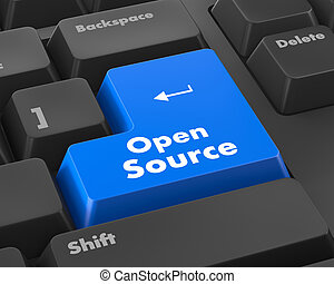 źródło, guzik, klawiatura, otwarty