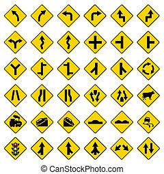żółta droga, znaki, kupczyć oznakowaniem, komplet, na białym, tło