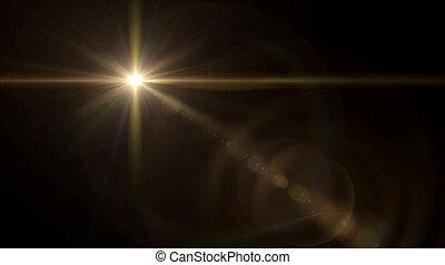 żółta gwiazda, krzyż, soczewka migoczą, 4k