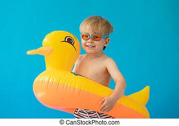 żółta kaczka, dziecko, szczęśliwy, portret, ścierka
