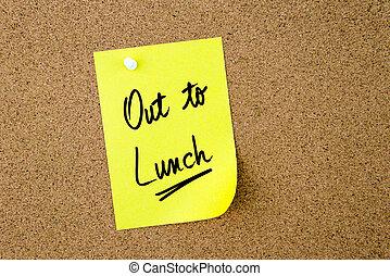 żółta nuta, lunch, pisemny, papier, poza