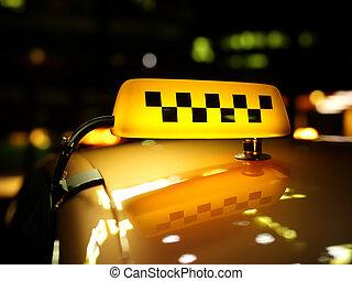 żółta taksówka, znak, kontroler, w nocy