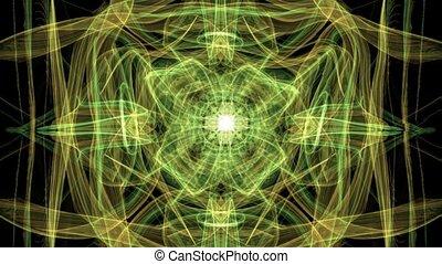 żółtozielony, fractal, natura, popisowy, symbolizing, tło, ...