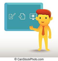 żółty, biznesmen, prezentacja