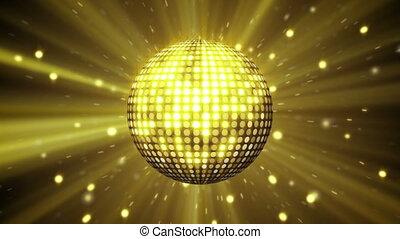 żółty, disco piłka, lustrzany, pętla