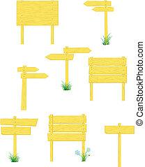 żółty, drogowskazy, drewniany
