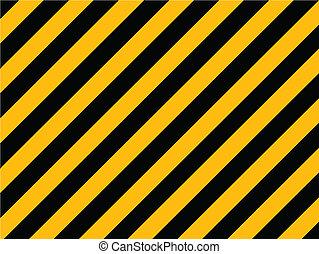 żółty i czarnoskóry, przekątny, ryzykować, pasy, barwiony, na, stary, ceglana ściana, -, wektor