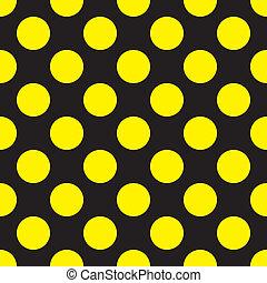 żółty, kropkuje, na, czarnoskóry, seamless, tło