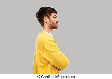 żółty, krzyżowany, człowiek, sweatshirt, młody, herb