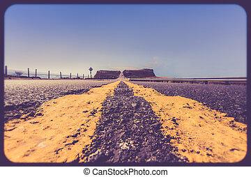 żółty, kwestia, droga, działowy