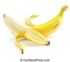 żółty, owoc, banan, klarowany, odizolowany