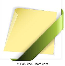żółty, papier, zielony, wstążka, dzierżawa, róg, opróżniać