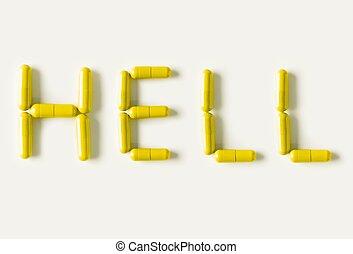 żółty, pigułki, torebki, w formie, od, słowo, hell., życie, pojęcie, isolated.