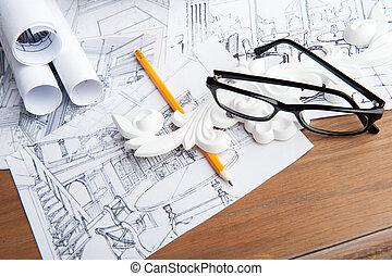 żółty, projektować, portret, biały, okular, rysunek, ołówek