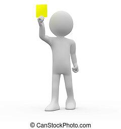 żółty, sędzia, karta, pokaz