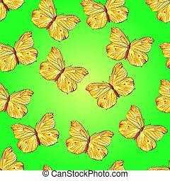 żółty, seamless, motyl, struktura