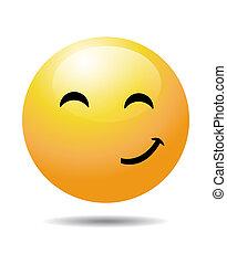 żółty, smiley twarz