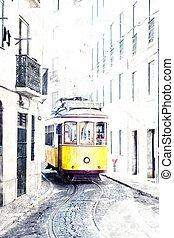 żółty, starożytny, tramwaj, na, ulice, od, lisbona, portugal., imitacja, od, woda farba, rysunek