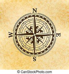żółty, symbol, starożytny, papier, stary, róża, wiatr, busola, rocznik wina, ikona