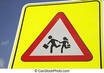 żółty, szkoła, bezpieczeństwo, znak
