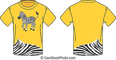 żółty, t-shirt, z, niejaki, zebra