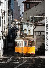 żółty, tramwaj, lisbona