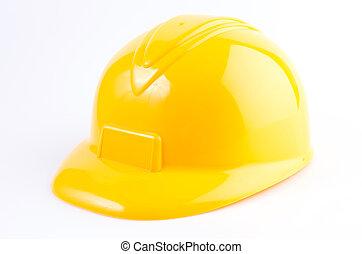 żółty twardy kapelusz, odizolowany, na białym, tło