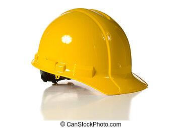 żółty twardy kapelusz