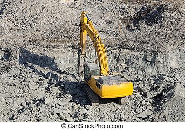 żółty, umieszczenie zbudowania, ekskawator