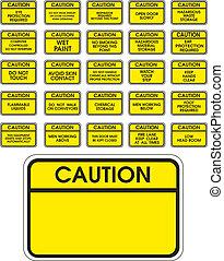 żółty, wektor, ostrożność, znaki