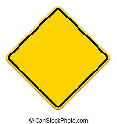 żółty znak, tło, czysty, biały, droga