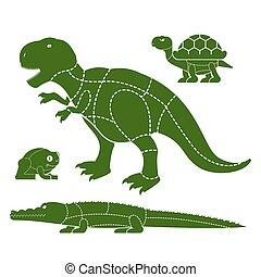 żółw, komplet, ciało, dinosaur., krokodyl, rożen, różny, cięty, sylwetka, żaba, stores., jak, strony, afisz, układ, rzeźnicy, meat., dishes., delikatność, zwierzę, diagram, mięso, kwestia, płaty