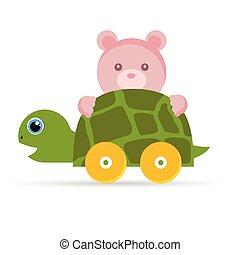 żółw, niemowlę, zabawki, ilustracja, teddy