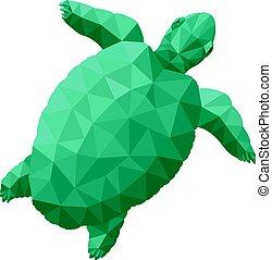 żółw, poly, stylizowany, zielony, ilustracja, niski