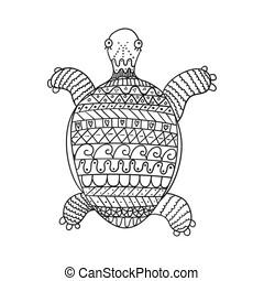 żółw, stylizowany, biały, odizolowany, tło.