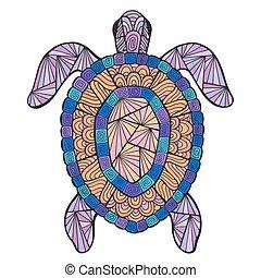żółw, stylizowany, wektor, pattern., etniczny