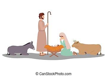 żłób, litery, zwierzęta, rodzina, święty