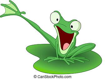 żaba, szczęśliwy
