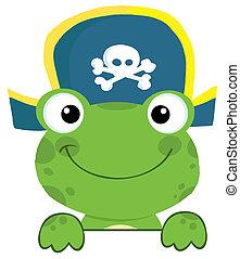 żaba, z, kapelusz pirata