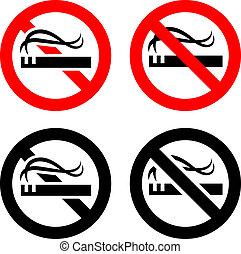 żadno palenie, znaki, komplet