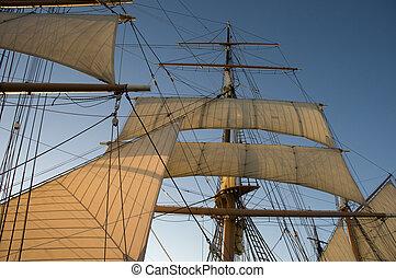 żagiel, na, historyczny, statek, w, san diego