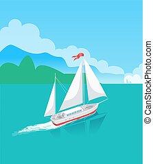 żaglówka, drzewa, woda, horyzont, statek, albo