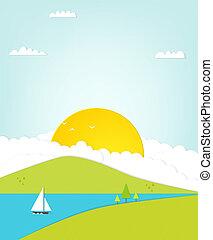 żaglówka, ilustracja, morze, ptaszki, wschód słońca