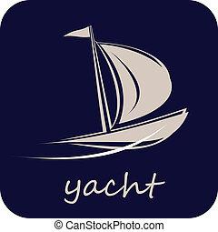 żaglówka, jacht, wektor, -, ikona